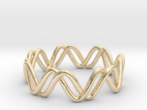 Sine + Cosine Ring (Size 7) in 14k Gold Plated Brass