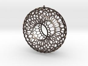 Honeycomb Torus Pendant in Polished Bronzed Silver Steel