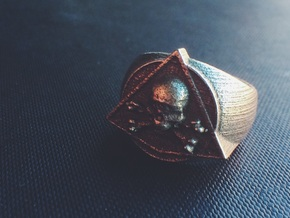 Saint Vitus Ring Size 15 in Polished Bronzed Silver Steel