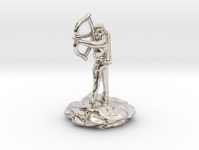 Gnome Bard with Lute and Shortbow in Rhodium Plated Brass