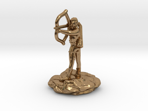 Gnome Bard with Lute and Shortbow in Natural Brass