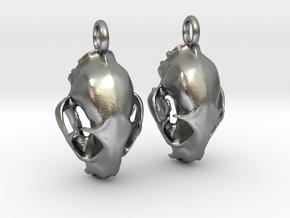 Bobcat Skull Earring Pair (2) - Vertical Loop in Natural Silver