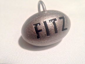 Personalize-able Rugby Ball Pendant in Polished Bronzed Silver Steel