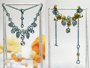 Cotton Roses NecklaceⅠ in Green Strong & Flexible Polished
