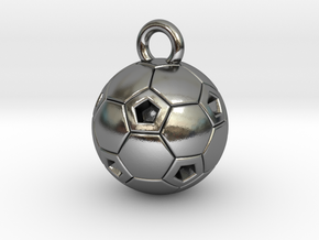 SOCCER BALL C in Polished Silver