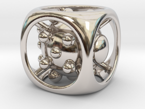 Dice No.1 M (balanced) (2.4cm/0.94in) in Rhodium Plated Brass