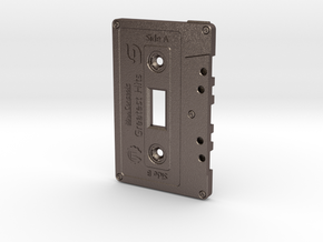 Cassette Light Switch Plate in Polished Bronzed Silver Steel