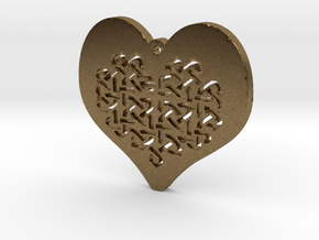 Celtic Knot heart Necklace Pendant in Natural Bronze