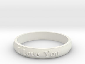 "Ring 'I Love You' - 16.5cm / 0.65"" - Size 6 in White Natural Versatile Plastic"