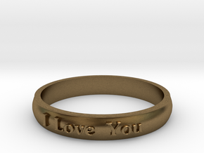 "Ring 'I Love You' - 16.5cm / 0.65"" - Size 6 in Natural Bronze"