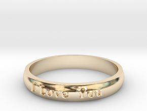 "Ring 'I Love You' - 16.5cm / 0.65"" - Size 6 in 14k Gold Plated Brass"
