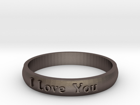 "Ring 'I Love You' - 16.5cm / 0.65"" - Size 6 in Polished Bronzed Silver Steel"