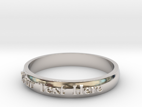 """Ring ' Your Text Here' - 16.5cm / 0.65"""" - Size 6 in Platinum"""
