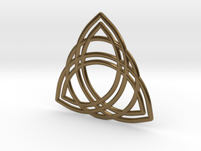 Double Triquetra with Ring in Polished Bronze