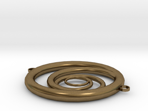 Orbiting Circle Pendant Double Loop in Natural Bronze