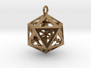 Icosahedron Love pendant in Natural Brass