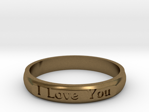 "Ring 'I Love You Inwards' - 16.5cm / 0.65"" - Size  in Natural Bronze"