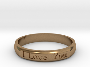 "Ring 'I Love You Inwards' - 16.5cm / 0.65"" - Size  in Natural Brass"