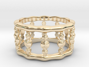 Designer COLUMN RING in Silver |  Gold |  Steel in 14k Gold Plated Brass