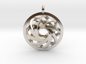 ATOM CORE Designer Jewelry Pendant in Rhodium Plated Brass