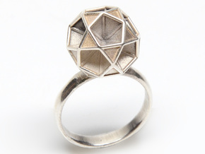 Polyhedron Ring Size 7  in Polished Silver