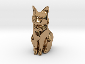 Business Cat in Polished Brass