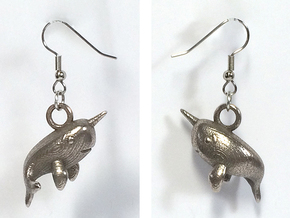 Narwhal Earrings in Polished Bronzed Silver Steel