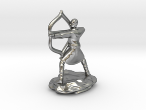 Elf Monk In Robes With LongBow in Natural Silver