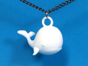 Whale Necklace Pendant in White Processed Versatile Plastic