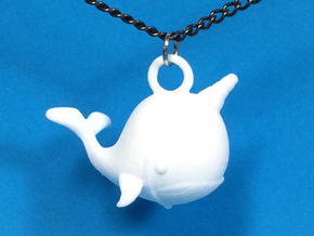 """Whale """"In Disguise"""" Necklace Pendant in White Processed Versatile Plastic"""