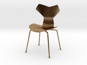 Grand Prix Style Stacking Chair 1/12 Scale in Natural Brass