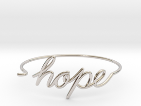 Hope Wire Bracelet in Rhodium Plated Brass