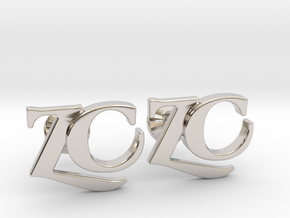 Monogram Cufflinks ZC in Rhodium Plated Brass