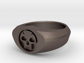 MTG Swamp Mana Ring (Size 7) in Polished Bronzed Silver Steel