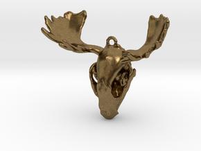 Raccoon Moose Skull Pendant in Natural Bronze