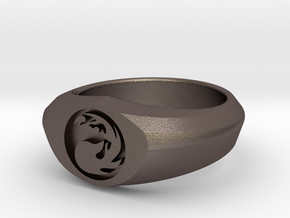 MTG Mountain Mana Ring (Size 8 1/2) in Polished Bronzed Silver Steel