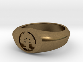 MTG Forest Mana Ring (Size 9) in Natural Bronze
