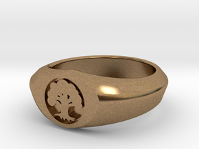 MTG Forest Mana Ring (Size 10) in Natural Brass