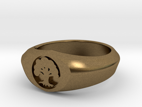 MTG Forest Mana Ring (Size 10) in Natural Bronze