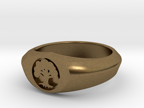 MTG Forest Mana Ring (Size 11) in Natural Bronze