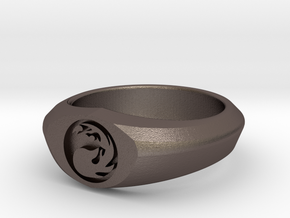MTG Mountain Mana Ring (Size 12) in Polished Bronzed Silver Steel
