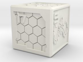 Cyberpunk-themed Dice in White Natural Versatile Plastic