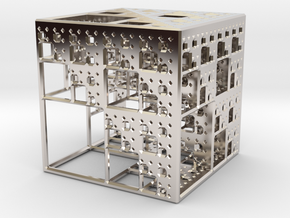 NewMenger Cube in Rhodium Plated Brass