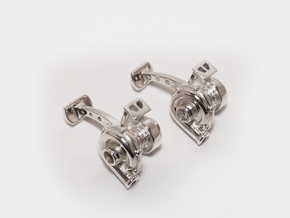 Full Turbocharger Cufflinks in Polished Silver