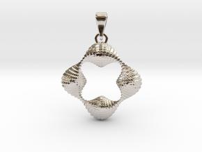 0063 Antisymmetric Torus Pendant (p=4.0) #004 in Rhodium Plated Brass