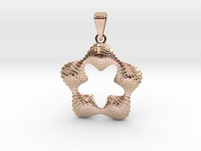 0064 Antisymmetric Torus Pendant (p=5.0) #005 in 14k Rose Gold Plated Brass