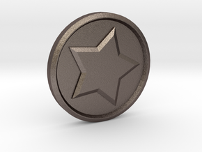 Animal Crossing: Bell Coin in Polished Bronzed Silver Steel