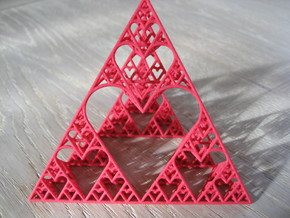 Sierpinski tetrahedron of Love in Red Processed Versatile Plastic