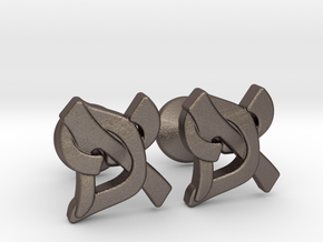 "Hebrew Monogram Cufflinks - ""Aleph Pay"" Small in Polished Bronzed Silver Steel"