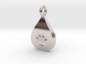 Pet Paw In Tear B in Rhodium Plated Brass